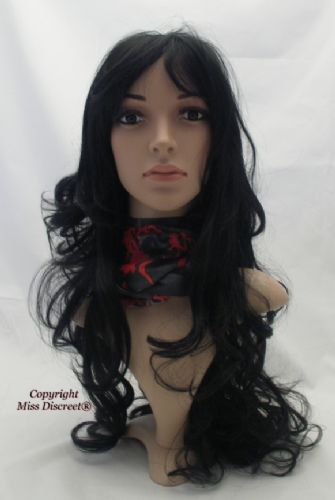 Extra Long and Wavy Loose Curly Full Head Wig in Natural Black